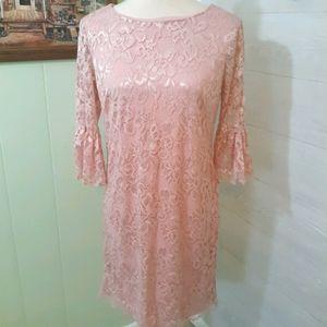 Leslie Fay metallic blush lace dress sz 4 *C6